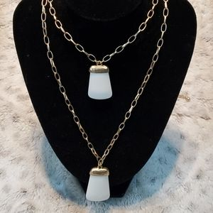 Chico's Long Gold Tone Dual Strand Necklace